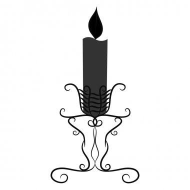 black and white vintage candle with a burning candle