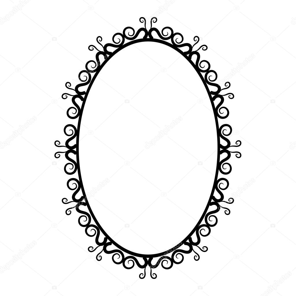 black and white vintage oval frame on a white background — Stock ...