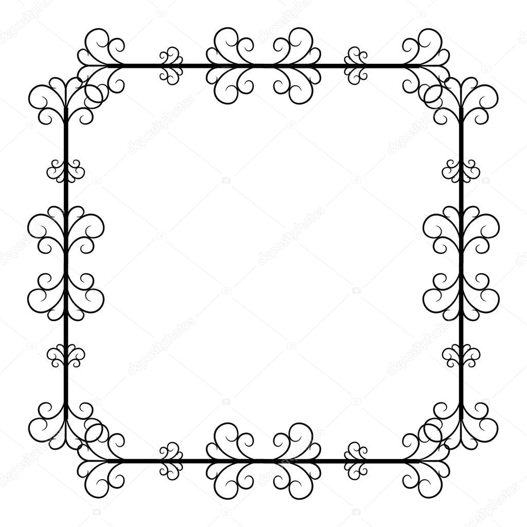 Black And White Vintage Square Frame On Background Stock Vector