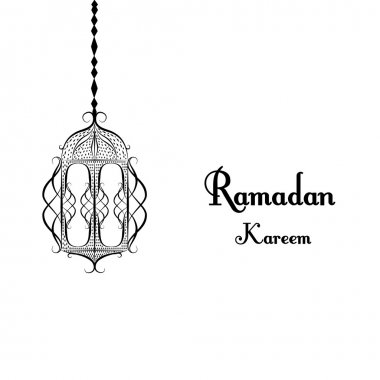 black and white traditional lantern of Ramadan- Ramadan Kareem beautiful greeting card with arabic calligraphy which means ''Ramadan kareem '' .