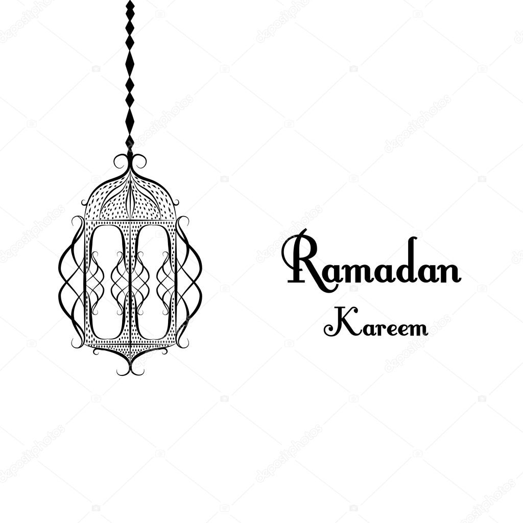 Black and white traditional lantern of ramadan ramadan kareem black and white traditional lantern of ramadan ramadan kareem beautiful greeting card with arabic calligraphy which means ramadan kareem m4hsunfo