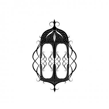 black and white traditional lantern on white background