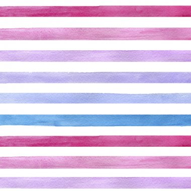 Colorful hand drawn real watercolor seamless pattern with blue, pink and purple horizontal strips. Abstract grunge seamless pattern. Strips on white background.