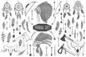 Fotografia Hand drawn tribal set with bows, axes, arrows, feathers, dreamcatchers, bull skulls, war headdress elements. Vector ethnic, indian, aztec, hipster illustration.