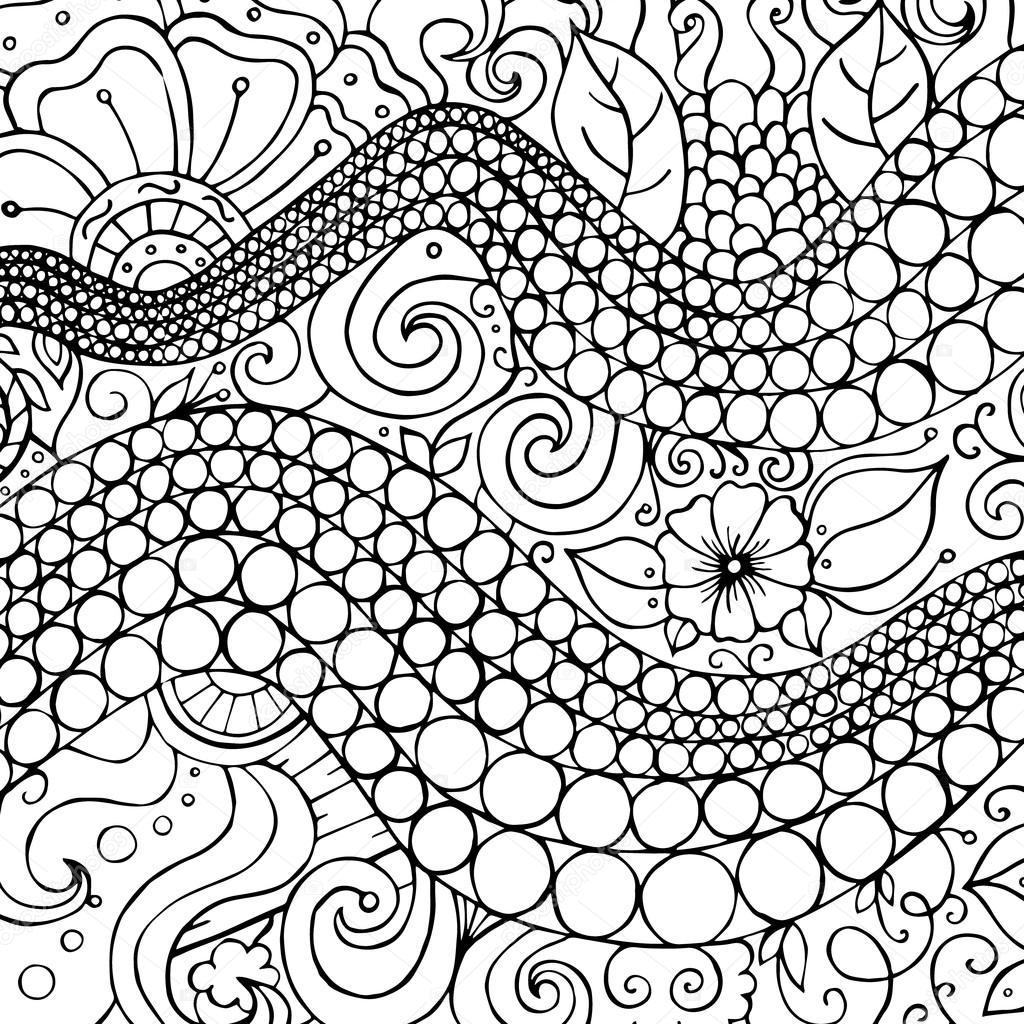 vektor muster schwarz wei abbildung kann fr tapeten verwendet werden buchseiten fr kinder und erwachsene frbung vektor von dina_asileva - Tapete Schwarz Wei Muster