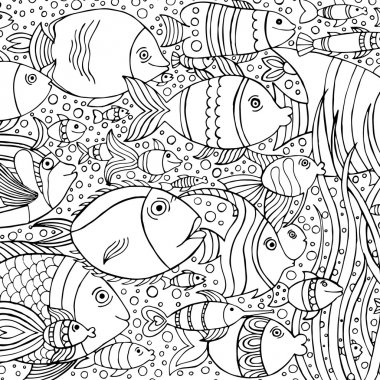 Hand drawn background with many fishes in the water. Sea life design for relax and meditation. Vector pattern black and white illustration can be used for coloring book pages for kids and adults.