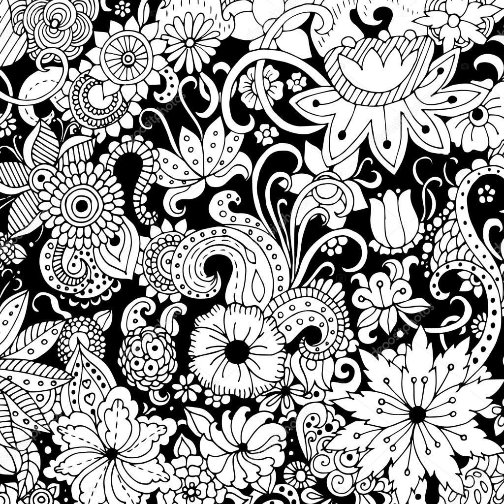 Pattern Black And White Flowers Hand Drawn With Ink