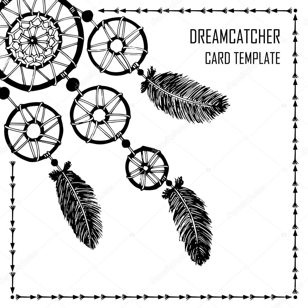 hand drawn with ink dreamcatcher with feathers ethnic illustration