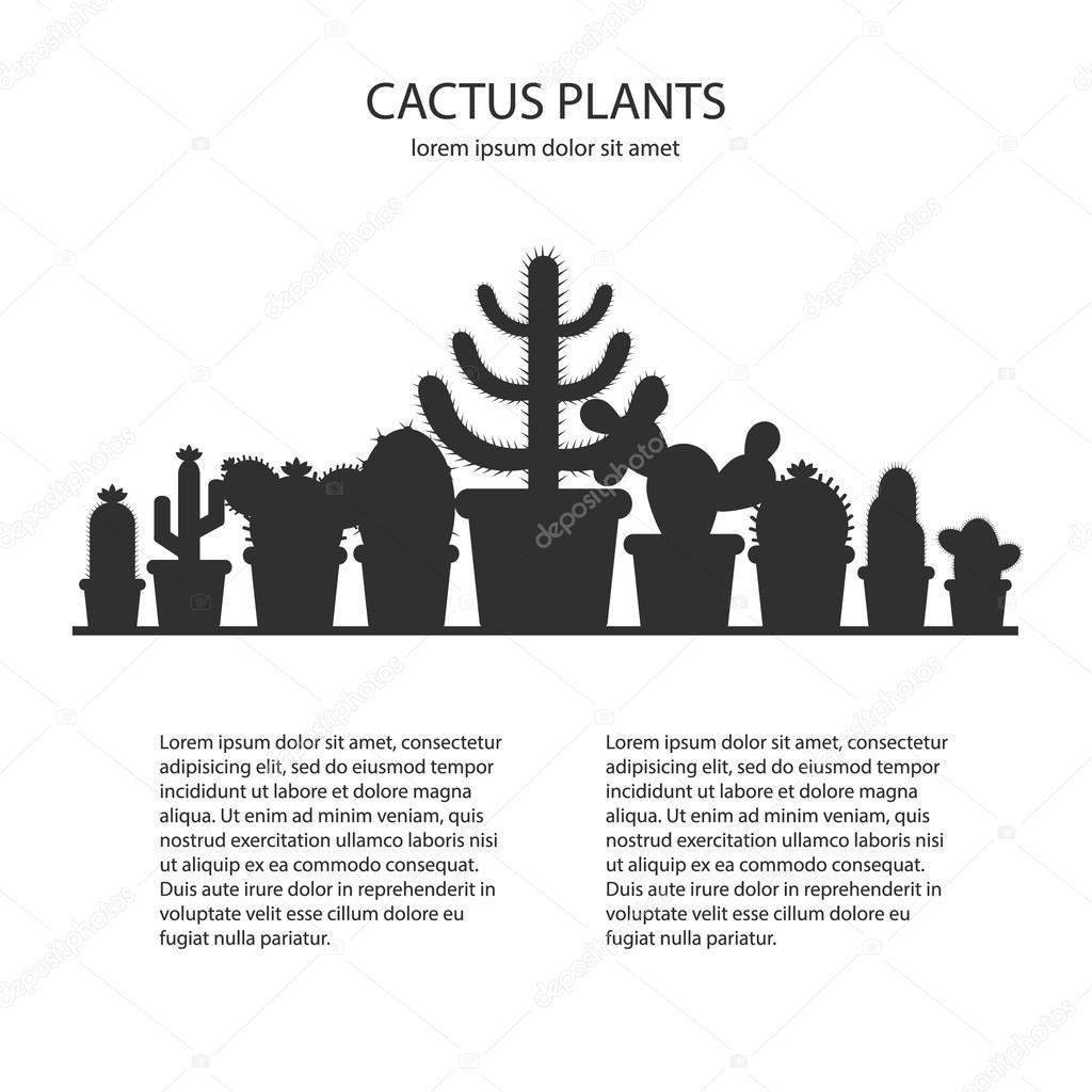 Design template with silhouette cacti in a pot. Icon of cactus ...