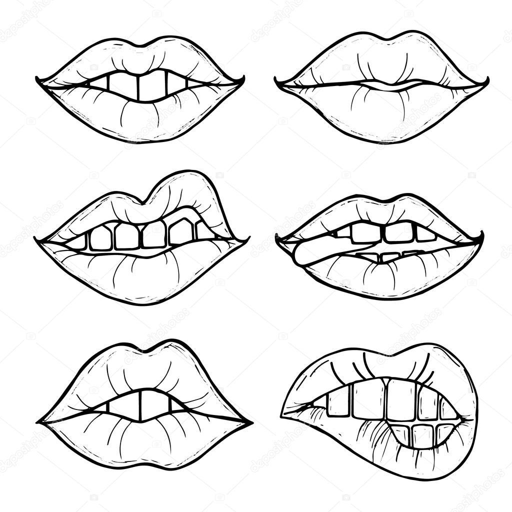 Labios de mujer para colorear | Abrir la boca femenina con labios