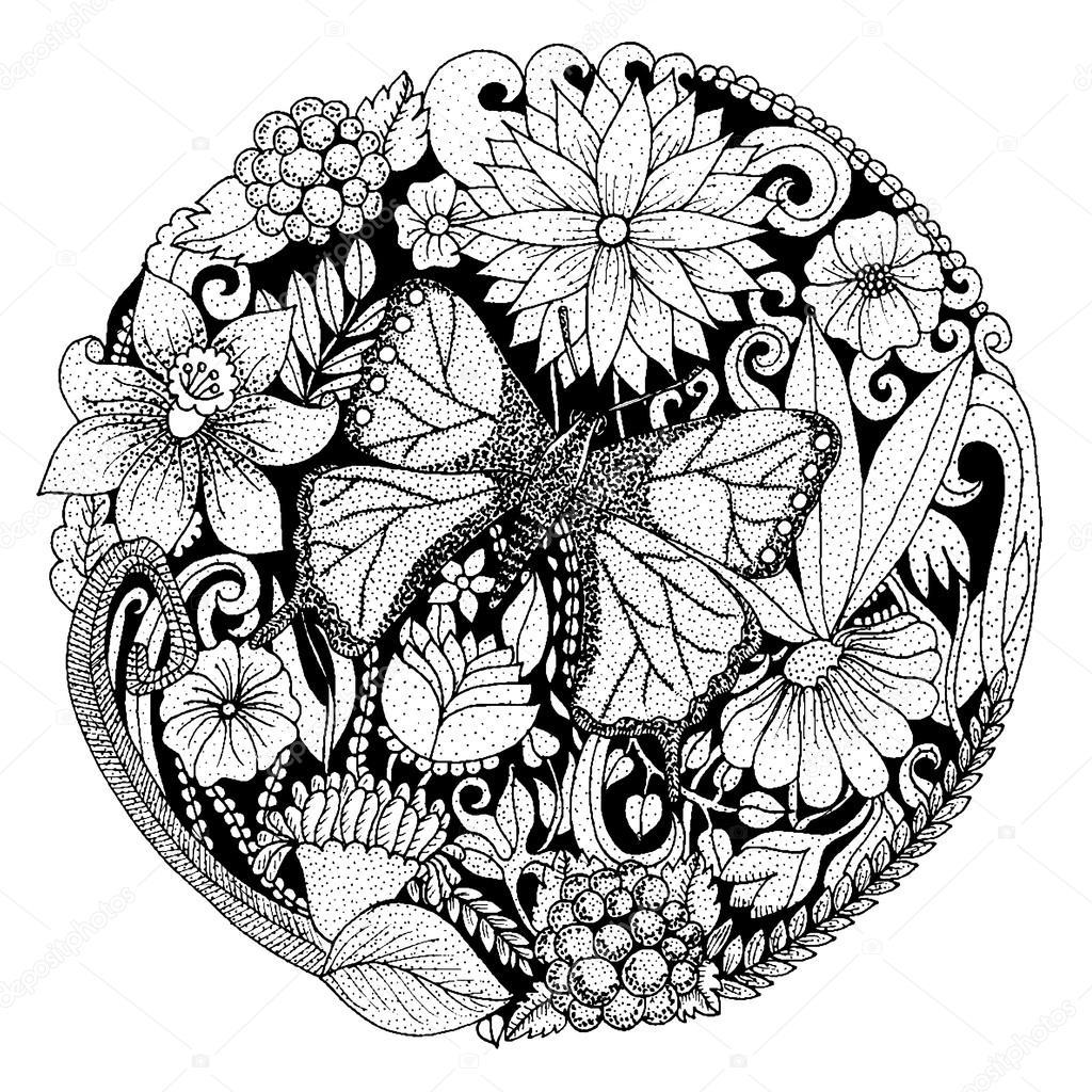 Ausmalbilder Für Erwachsene Schmetterling : Hand Mit Tinte Hintergrund Mit Kritzeleien Blumen Schmetterling