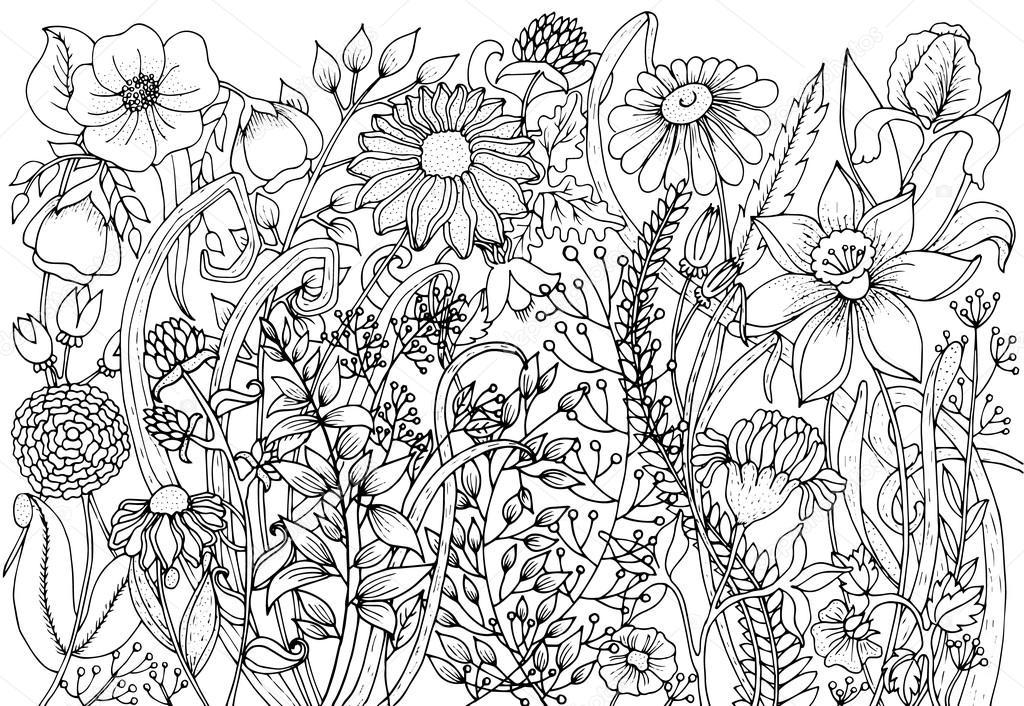Mano alzada con el fondo de tinta con garabatos, flores, hojas ...