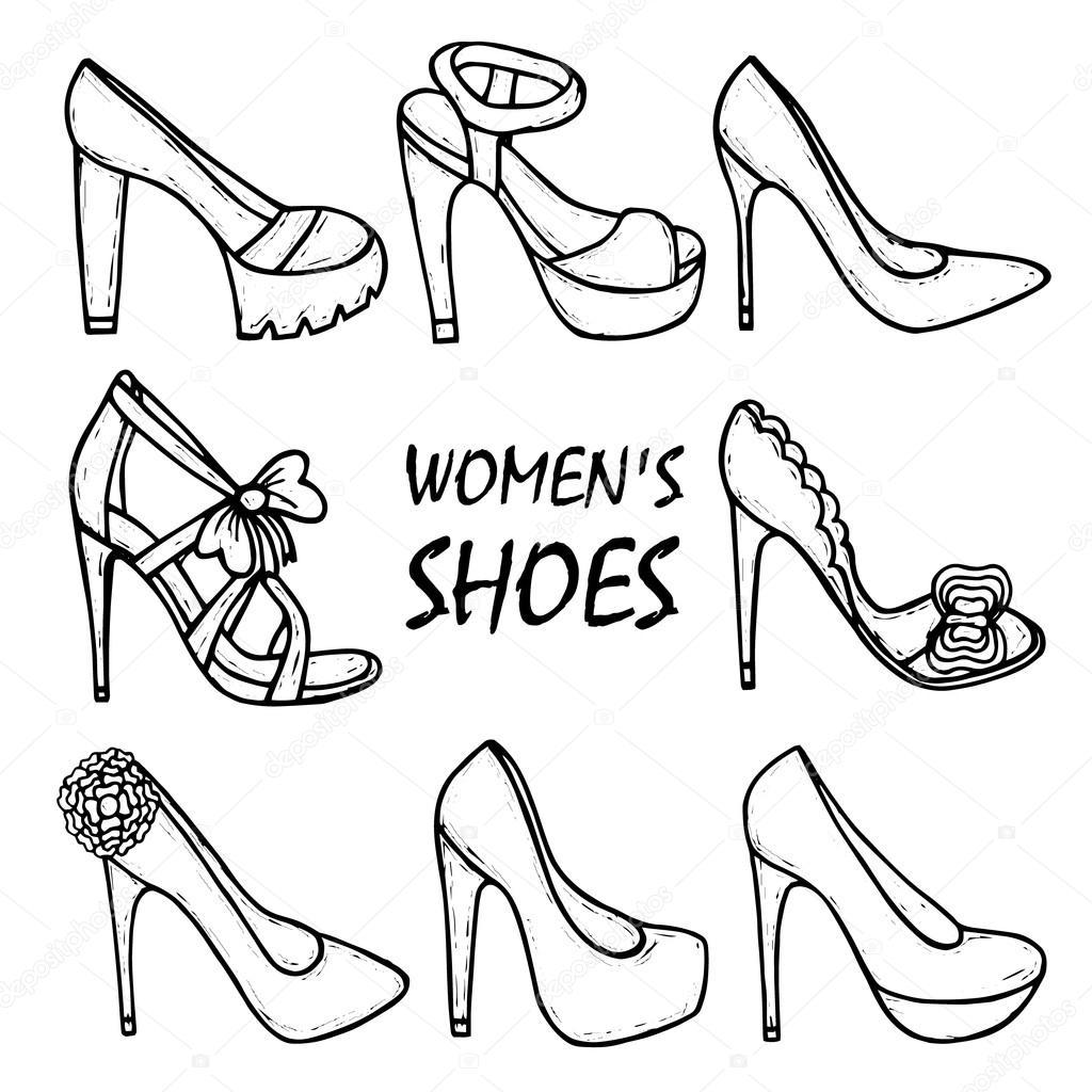 Mano De Alto Para Colorear Hermosa Mano Dibujado Zapatos De Mujer