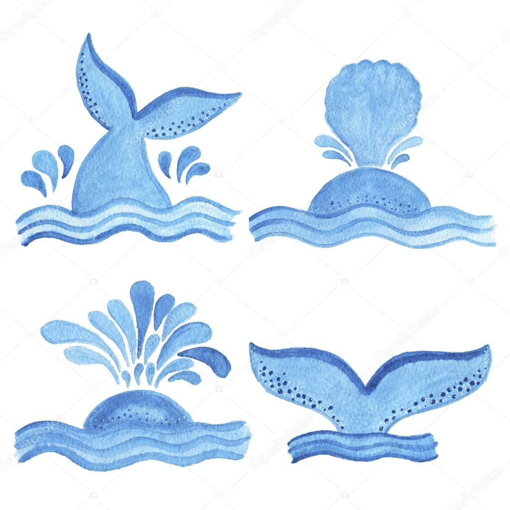 watercolor blue whale tail object cartoon style u2014 stock photo