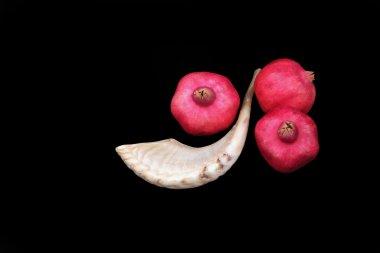 Pomegranates and a horn symbols of the Jewish new year (Rosh HaShana)
