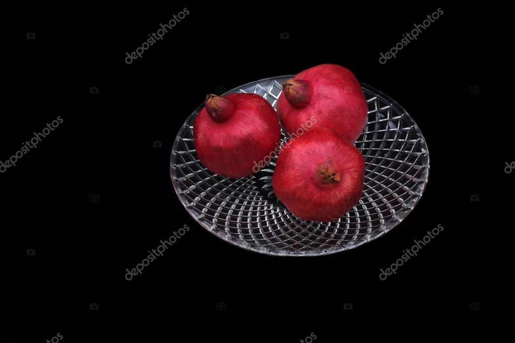 Three Pomegranates On A Glass Plate Symbol Of Jewish New Year