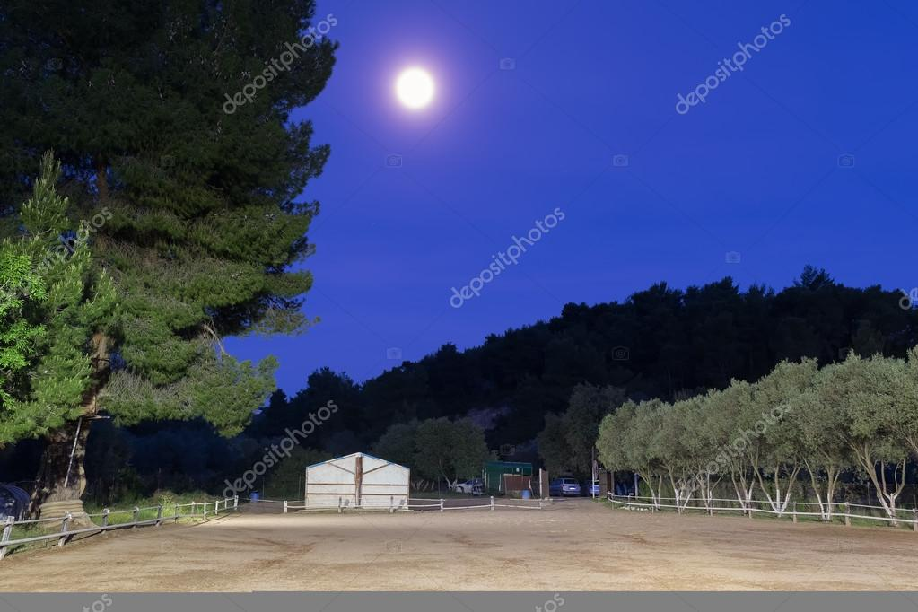 Horse arena against full moon.