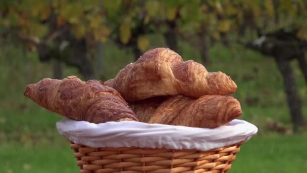 French croissants in a rotating basket