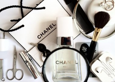 Cosmetics and accessories from female handbag