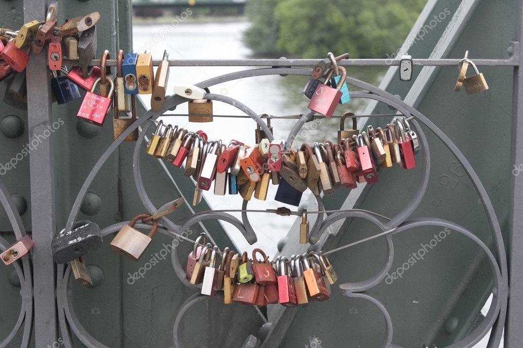 Lovelocks on the Eiserner Steg Bridge in Frankfurt, Germany