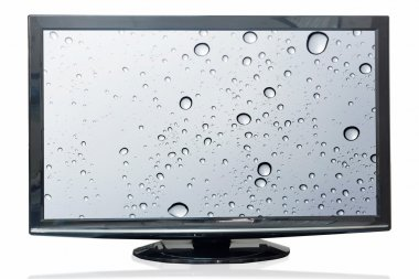 Television monitor water reflection isolated on white background