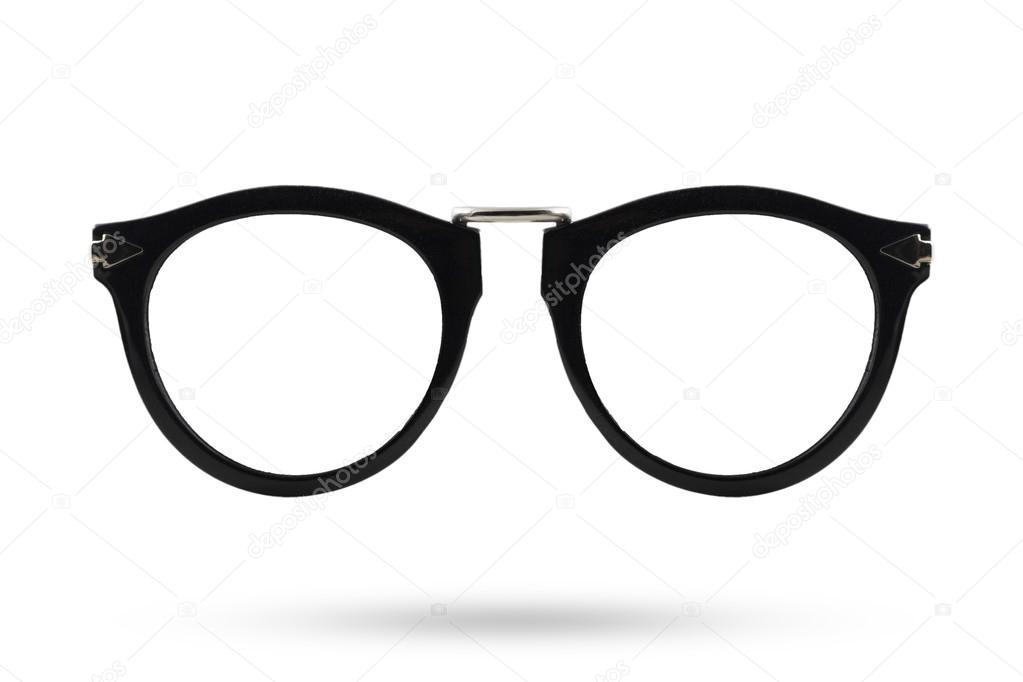e9025ca89393c2 Schwarze Brillen Stil isoliert weißen Hintergrund — Stockfoto ...