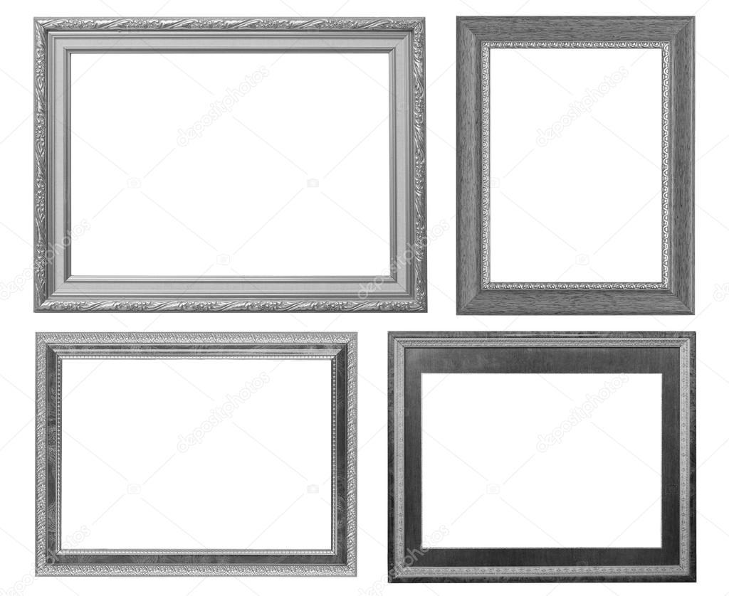 Silber Bilderrahmen set isolierten auf weißen Hintergrund ...