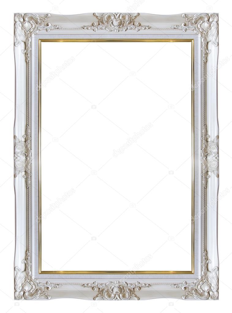 Rahmen weiß und Gold-Kupfer-Jahrgang isoliert background — Stockfoto ...