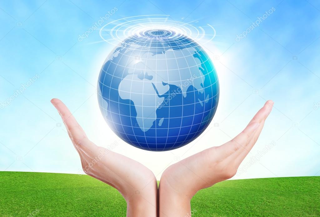 Female hands save environment keep in the world blue planet.