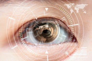 Close up women brown eye scanning technology in the futuristic,
