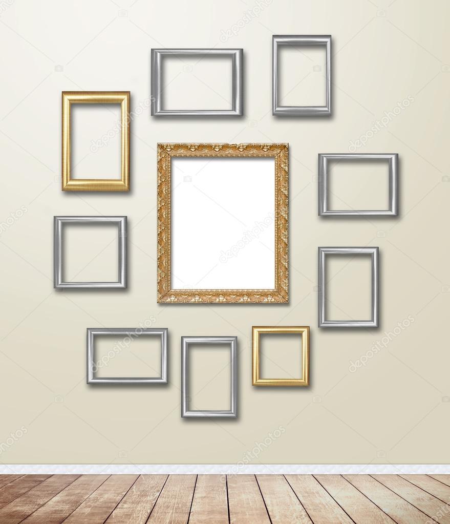 Flare-Golden Holz Rahmen Dekor auf Tapete mit Licht — Stockfoto ...