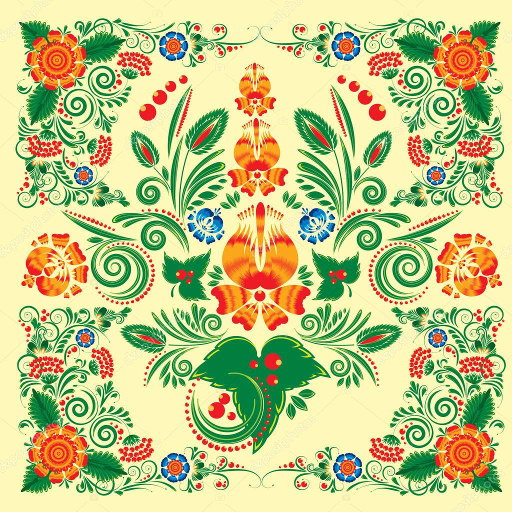 seamless pattern with floral ornament with elements of berries and leaves