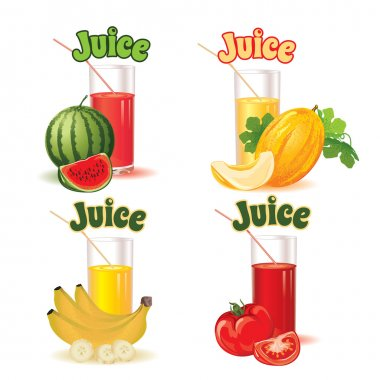 glasses for juice from melon, banana, tomato and watermelon