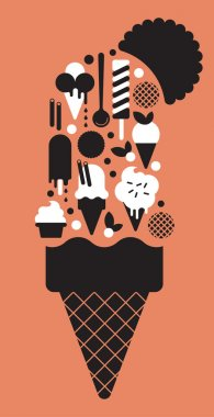Composition with ice-cream silhouettes