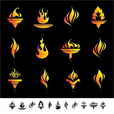 Set of fire symbol icons.