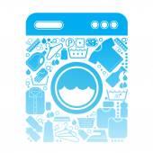 Összetétele a mosoda szimbólumokkal.