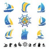 Fotografie Reihe von Icons mit Boote Silhouetten