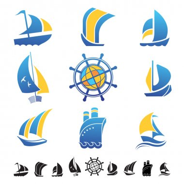 Set of icons with boats silhouettes