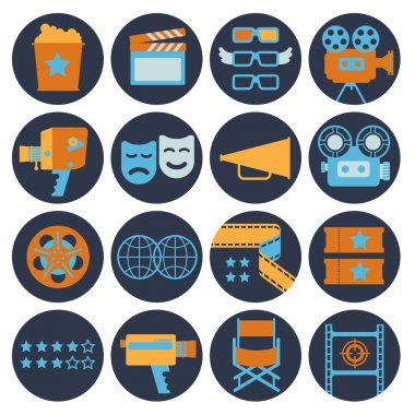 Cinematography flat Icons.