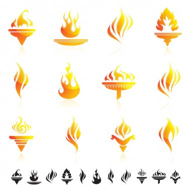 Set of fire symbol icons.