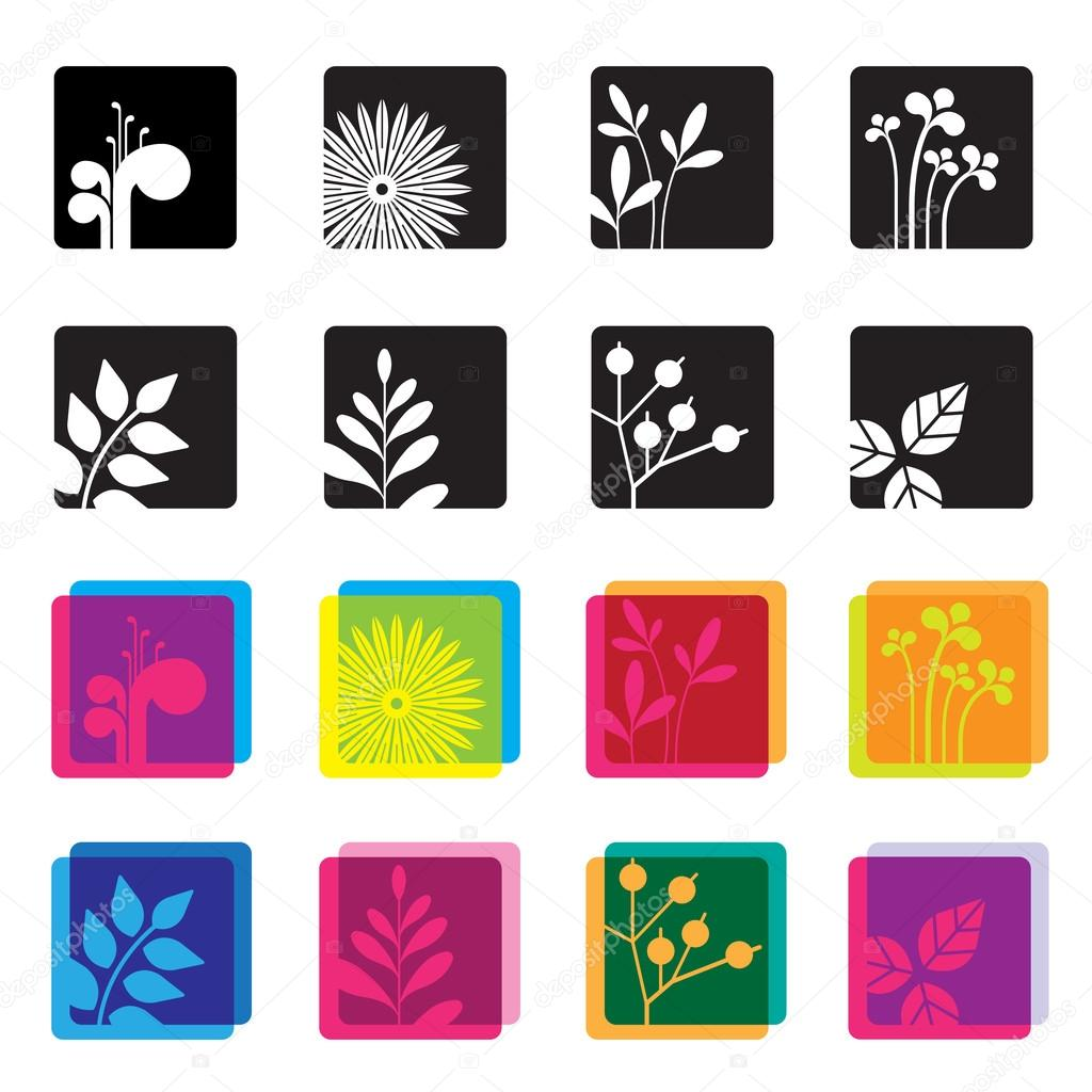 Set of floral symbol icons.