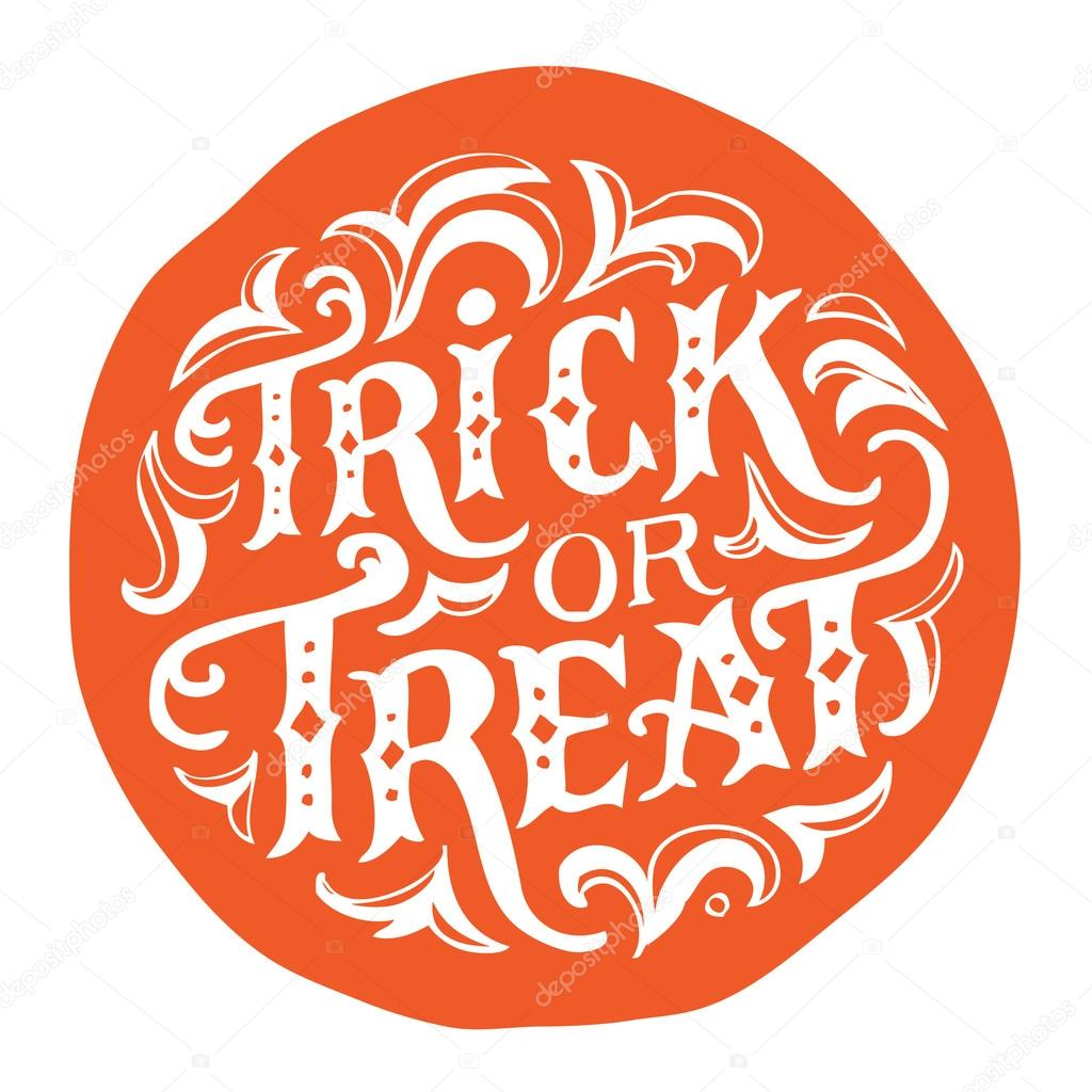 Hand drawn vintage halloween text with hand lettering and decoration. Trick or treat. This text can be used as a greeting card element or print.