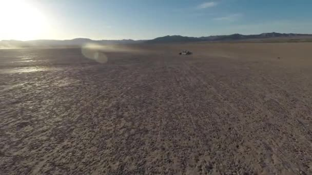 Aerial. The police car in the desert