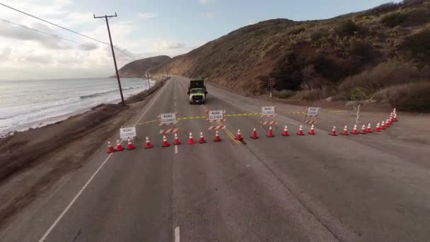 Aerial  Flying over a closed road after the accident  Empty Pacific Coast  Hwy