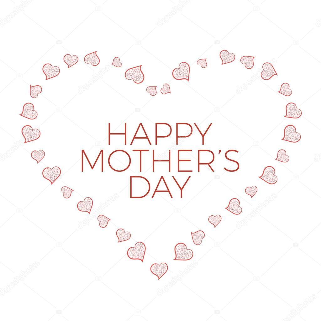Glückliche Mütter Tag isoliert Vorlage mit Hand gezeichnet Herzen ...