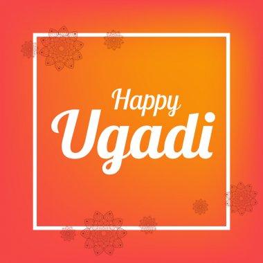 Happy Ugadi card template with flower mandala