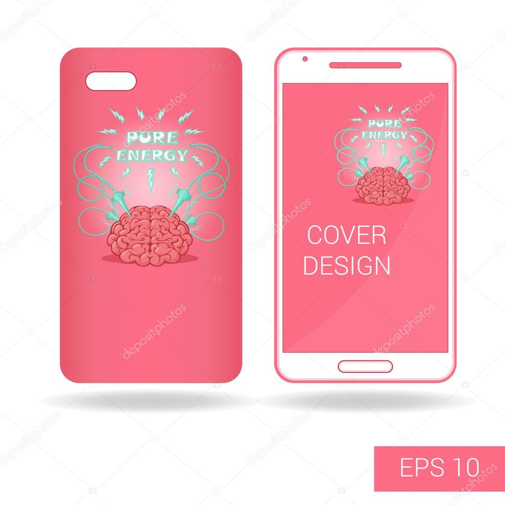 Concept design cover mobile smartphone with funny human brain and concept design cover mobile smartphone with funny human brain and electric lightning in cartoon style isolated on white background voltagebd Choice Image
