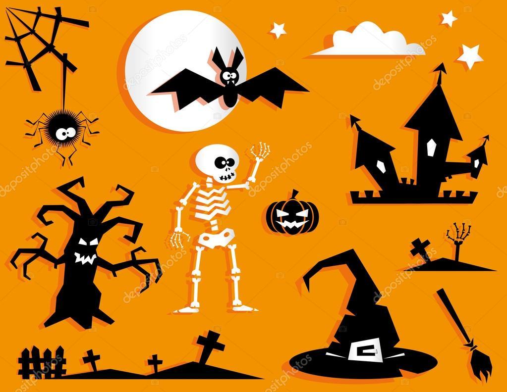 set of funny halloween symbol pumpkin bat scary tree spider web