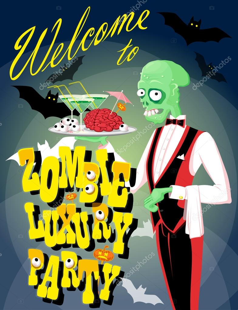 Halloween background funny zombie waiter with cocktail and brain halloween background funny zombie waiter with cocktail and brain cartoon style design poster voltagebd Images