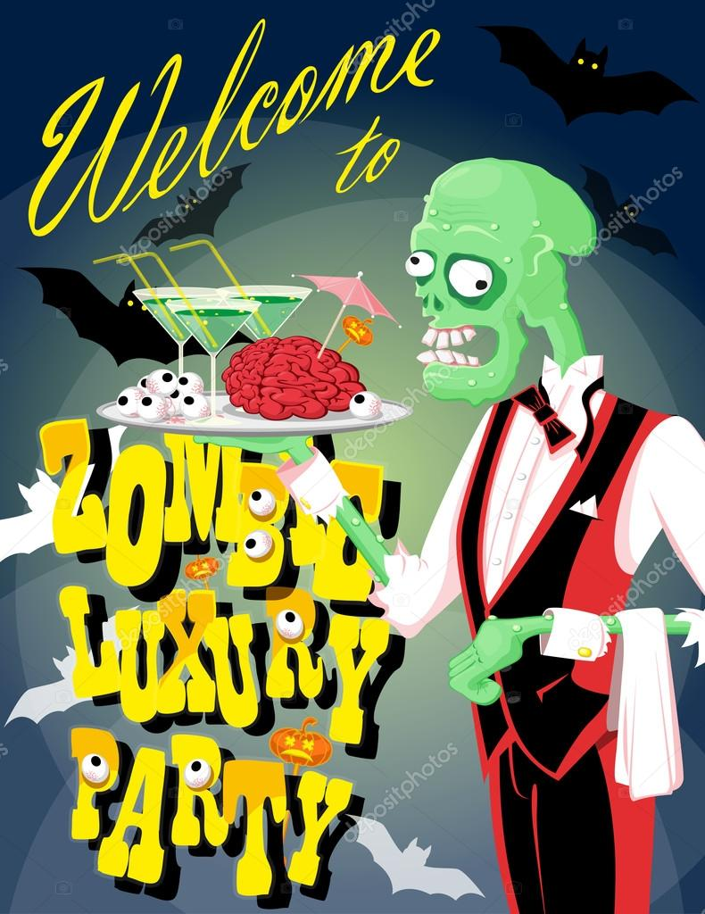halloween background funny zombie waiter with cocktail and brain